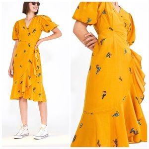 FARM Rio RARE Jungle Tucanos Wrap Dress Yellow Sml